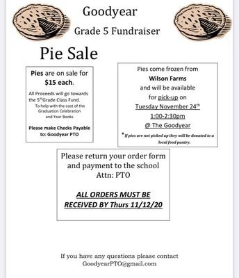 Goodyear PTO Pie Sale Information