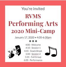 2020 RVMS Performing Arts 6th Grade Mini-Camp