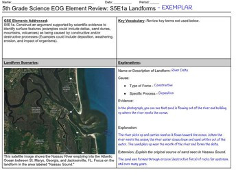 5th Grade Science Element Review Sheets