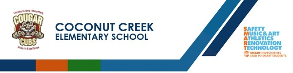 A graphic banner that shows Coconut Creek Elementary school's name and SMART logo