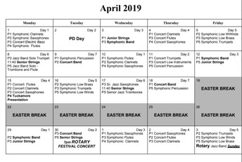 April Band Schedule