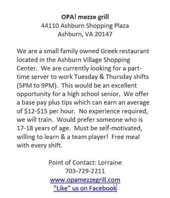 OPA! mezze grill job opportunity