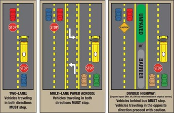 Rules regarding school buses with their lights activated