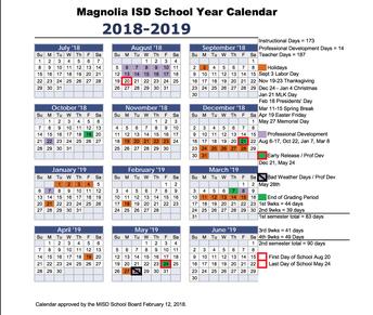 2018 - 19 Magnolia ISD Calendar