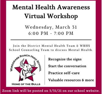 Mental Heath Awareness Virtual Workshop
