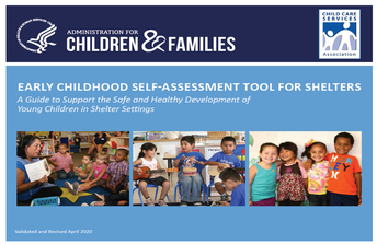 Report cover includes pictures of children with a blue background and title, Early Childhood Self-Assessment Tool for Shelters
