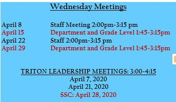 Wednesday Meetings Schedule