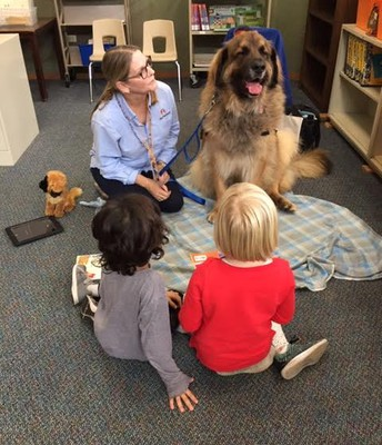Students reading to Klaus, one of our Library Dogs!