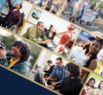 Photos from the cover page of the Inclusive Excellence Plan, featuring a wide variety of student and activities at Georgia Southern.