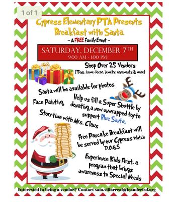 Breakfast with Santa and Vendor Fair, Saturday December 7th