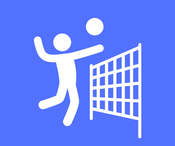 stickman in white hitting volleyball over net against blue background