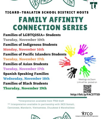 TTSD Family Affinity Connection Series November Dates