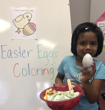 The children enjoyed creating their own egg artwork...