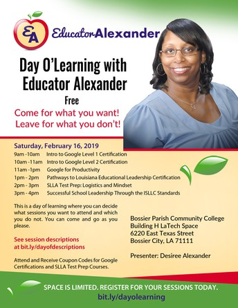 LAST CHANCE TO REGISTER FOR FREE DAY O'LEARNING WITH EDUCATOR ALEXANDER!