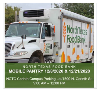 North Texas Food Bank @ NCTC in Corinth  on 12/8 and 12/21