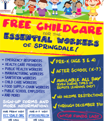 Childcare for essential workers!!!