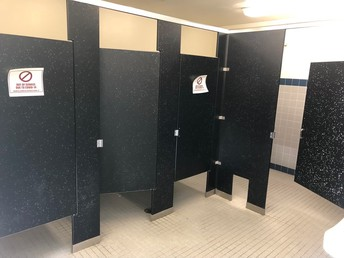 Restrooms are marked off.