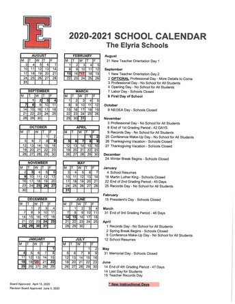 Calendar Changes of Note