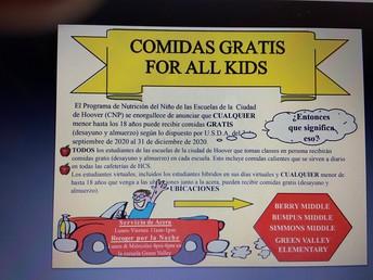 COMIDAS GRATIS FOR ALL KIDS UNTIL DEC. 31ST