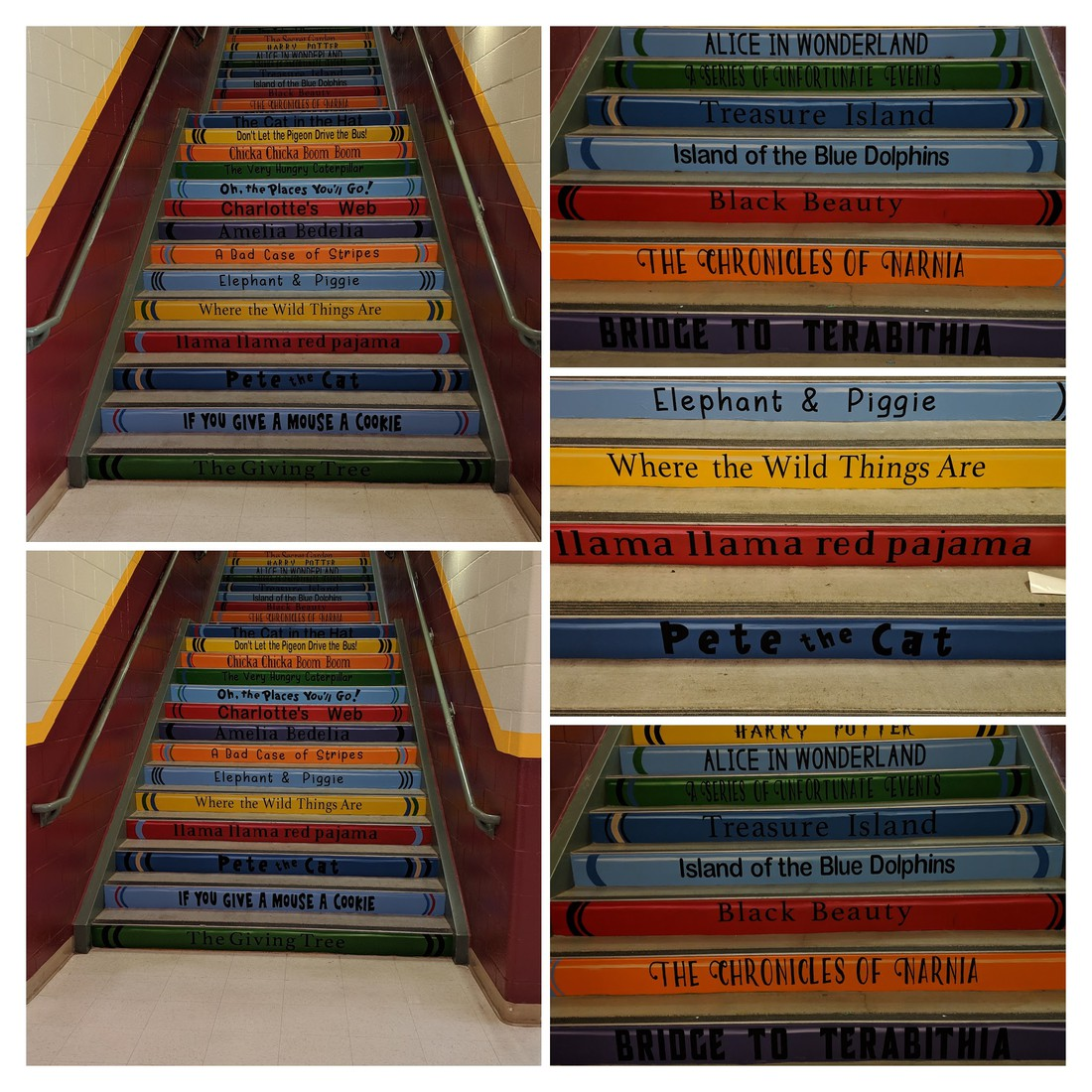 a collage of pictures that show the front stairs at WFES which have been painted different colors and with titles of different books