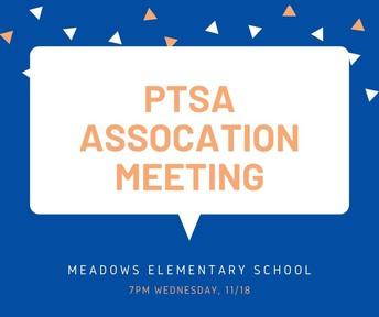 PTSA Association Meeting on 11/18 at 7pm