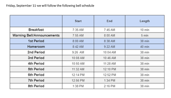 Friday, September 11th Schedule