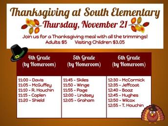 South Elem Thanksgiving Feast Schedule