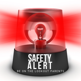 A red police siren that says SAFETY ALERT - Be on the lookout parents.