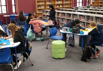 Students enjoy the NEW library furniture!