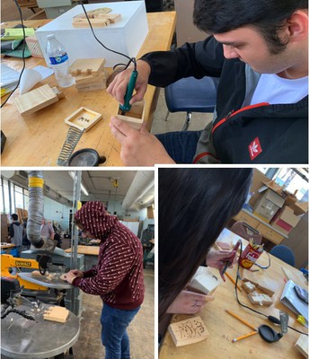 Wood Design Students Perfecting Their Projects