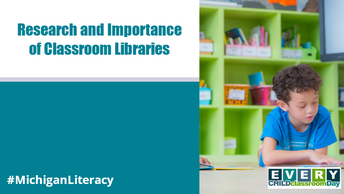 Boy reading book in front of classroom library