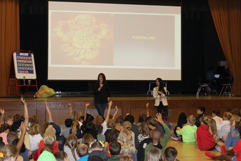 Authors Roshani Chokshi and J.C. Cervantes talked to the F.AVE 4th and 5th grade.