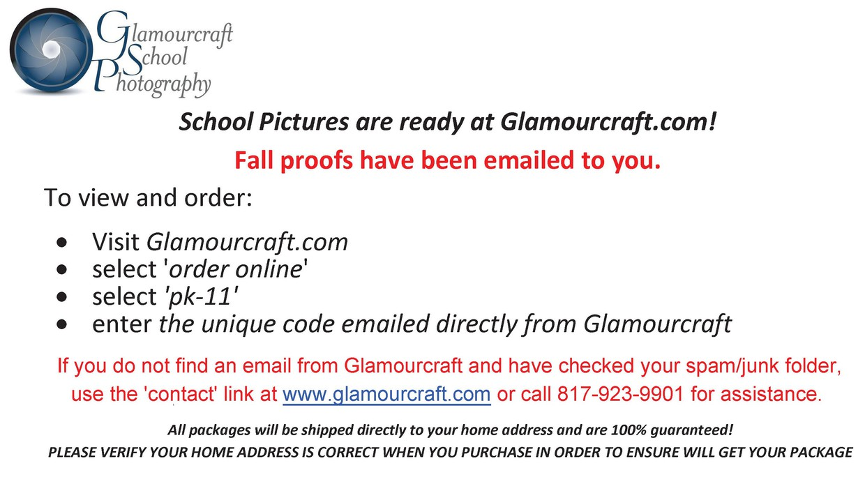 Notice that school pictures available to order at glamourcraft.com