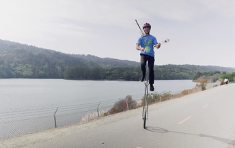 Hearty Unicycling at Crystal Springs Reservoir
