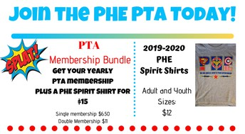 Not a member of PHE PTA...join NOW!
