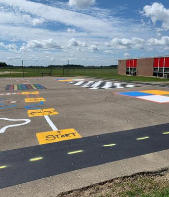 Sensory paths, checkerboard, 4 square, & Twister