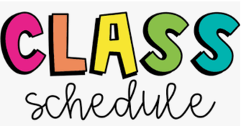 Class Schedules for Sept. 28th - Oct. 2nd