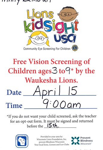 I SEE A VISION SCREENING IN YOUR FUTURE ...