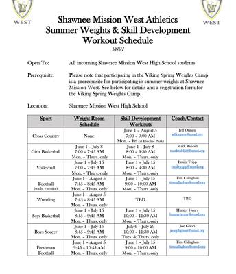 Summer Weights schedule