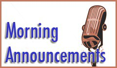"""weekly announcements starring Mrs. Mastela and Mr. """"Wit"""" (Witkowski)"""