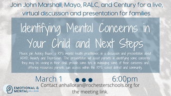 Family Event:  Identifying Mental Health Concerns in Your Child and Next Steps
