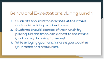 Expectations for Behavior During Lunch