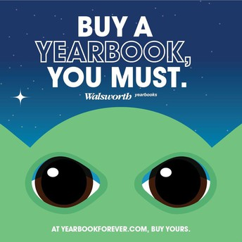 Cartoon character yearbook ad