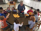 JB and her friends discovering the inside of a pumpkin