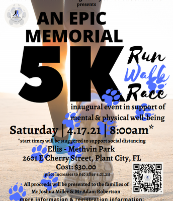 Looking for a great way to stay healthy? Check out the Memorial 5k run/walk event in support of mental and physical wellbeing. The event is Saturday, April 17 in Plant City. You may see some familiar faces from the school district there!