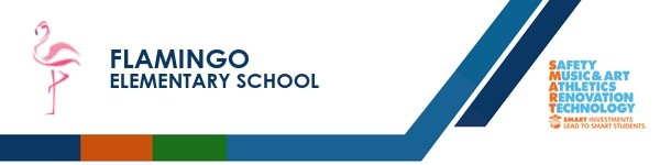 A graphic banner that shows Flamingo Elementary School's name and SMART logo