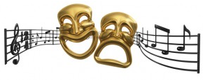 Comedy and Tragedy Masks over Music Staff