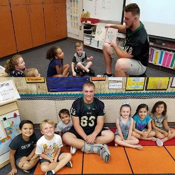 Basha High football players at Patterson Elementary