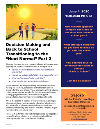 Trego Ed Session #2: Decision Making and Back to School---THURSDAY, JUNE 4!