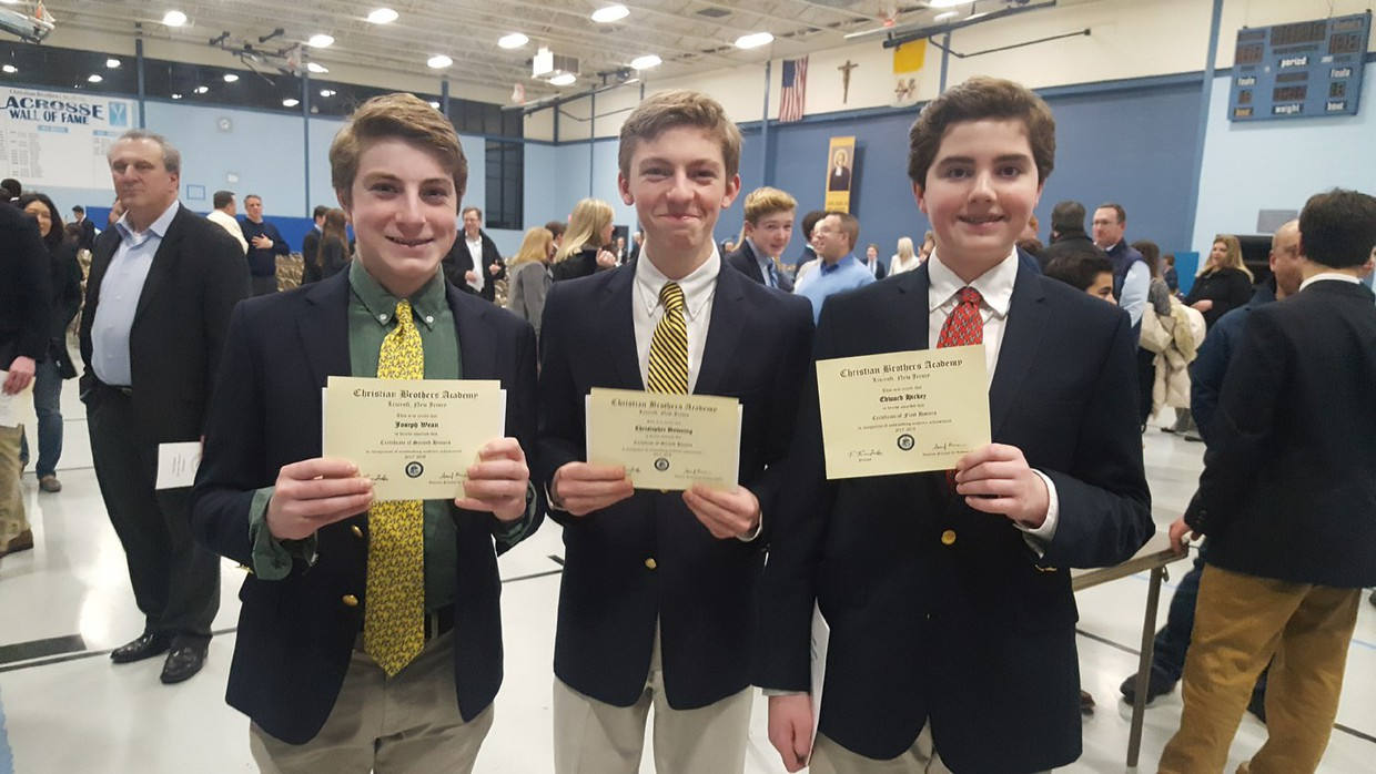 JC Wean, Christopher Downing and Edward Hickey who all received honors for first semester at Christian Brothers Academy last night at the Honors Convocation ceremony.